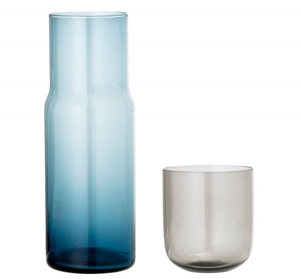 Bloomingville Decanter & Glass -Blue/Grey