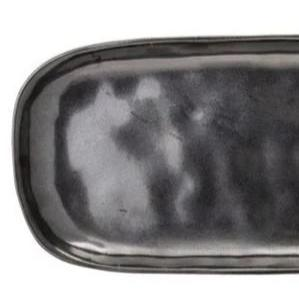 BLOOMINGVILLE Leah Black Stoneware Plate - Oval