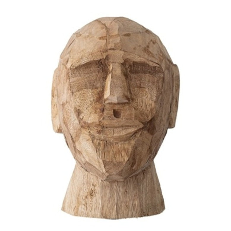 BLOOMINGVILLE Carved Timber Head Sculpture