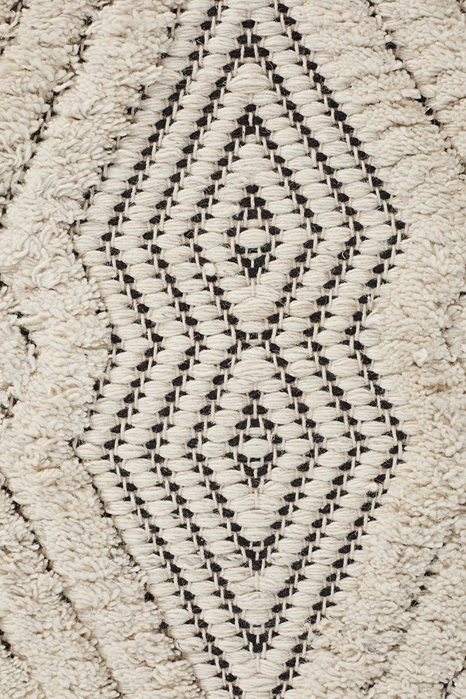 Asante Cream and Black Wool Flatweave Rugs