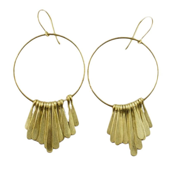 MELANIE WOODS - Gold Tassel Hoop Earrings