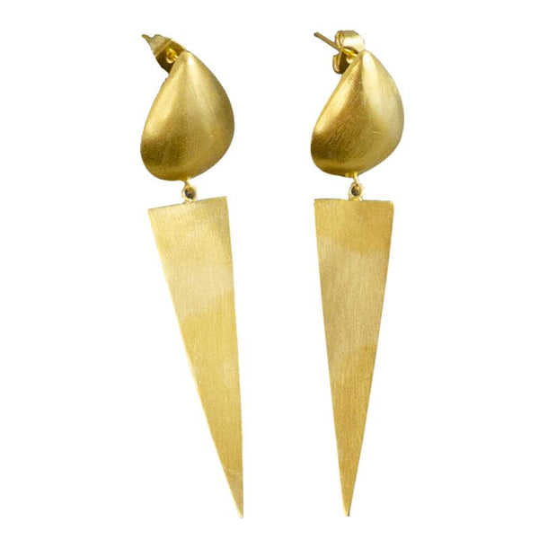 MELANIE WOODS - Euro Gold Stud Triangle Drop Earrings