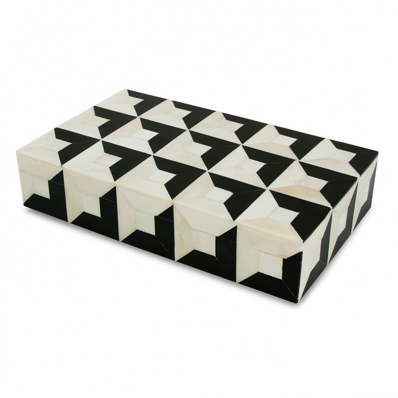 Escher - Black and White Bone Inlay Box
