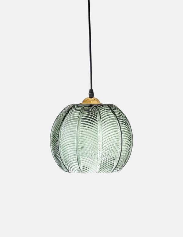 BLOOMINGVILLE Palm Leaf Green Glass Pendant Light