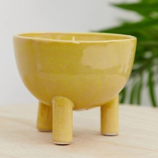 BLOOMINGVILLE  Yellow Tripod Footed Flowerpot