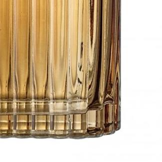 Bloomingville Ribbed Amber Glass Vase - Large