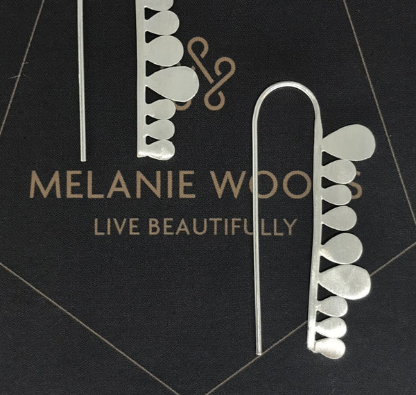 MELANIE WOODS - Fern Strip Hook Earrings - Silver
