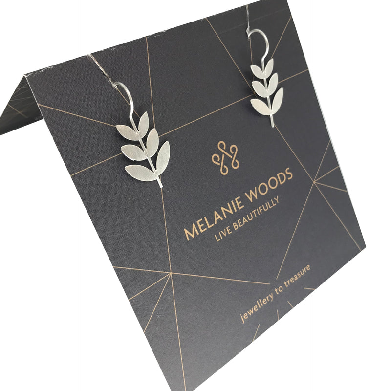 MELANIE WOODS - Leaf Drop Earrings - Silver