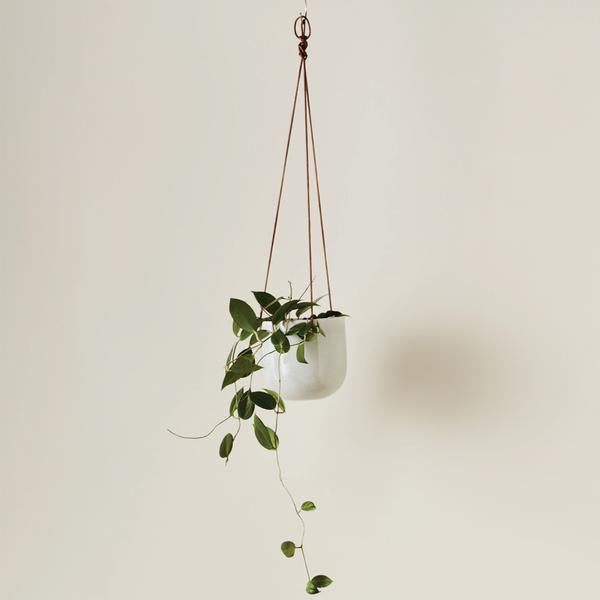 EVERGREEN COLLECTIVE Cade Hanging Pot - Small - Soft White