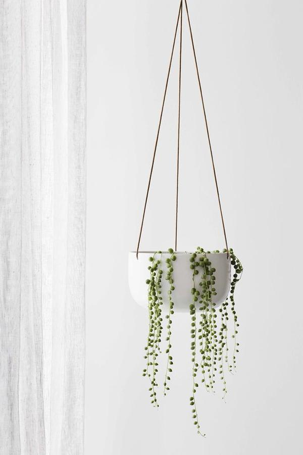 EVERGREEN COLLECTIVE Cade Hanging Pot - Large - Soft White