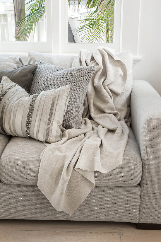 MULBERI Carmel Knitted Cotton Throw - Fawn - 125 x 150cm