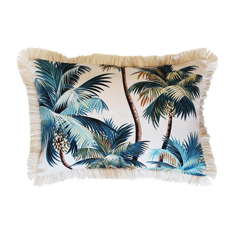 Coastal Fringe Cushion - Natural Palm Tree with Natural Fringe 35 x 50cm