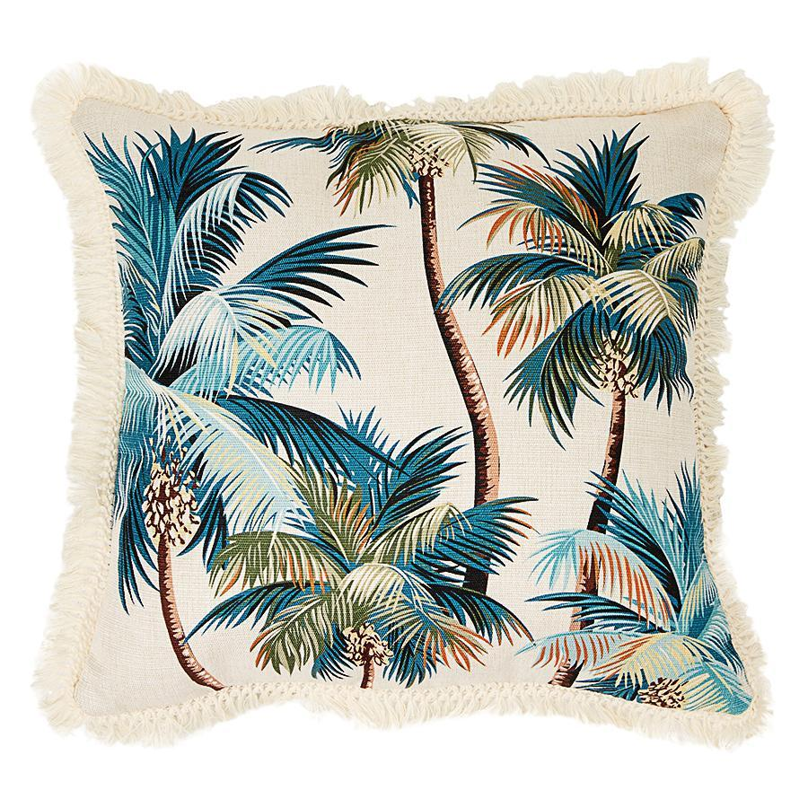 Coastal Fringe Cushion - Natural Palm Tree with Natural Fringe 60 x 60cm