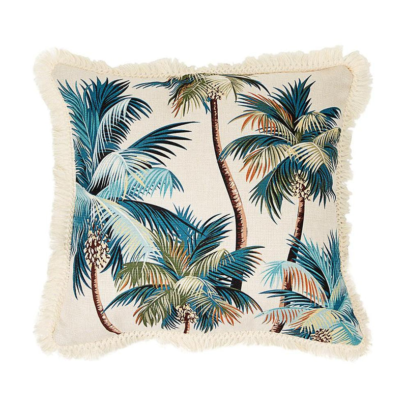 Coastal Fringe Cushion - Natural Palm Tree with Natural Fringe 45 x 45cm