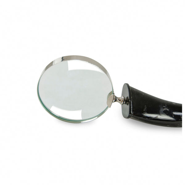 Horn & Nickel Magnifying Glass - Large - Black