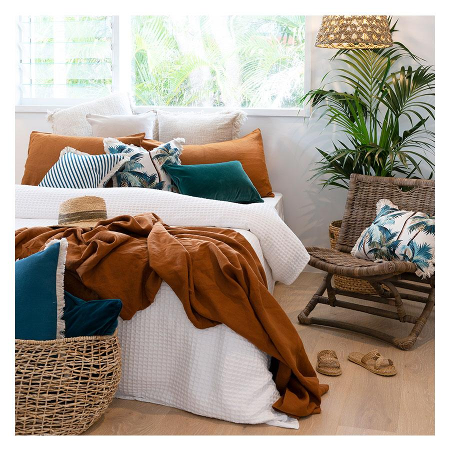 Coastal Fringe Cushion - Natural Palm Tree with Natural Fringe