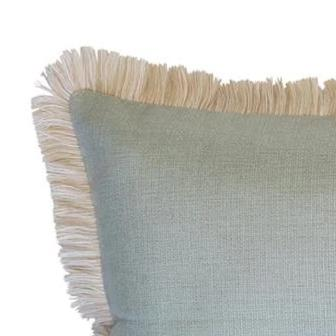 Coastal Fringe Cushion - Seafoam with Natural Fringe