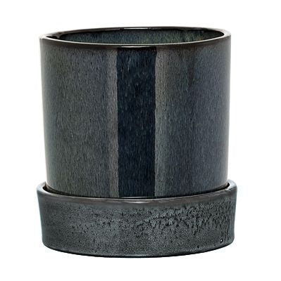 BLOOMINGVILLE Grey Stoneware Planter with Saucer
