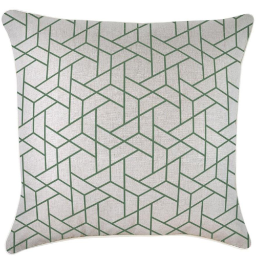 Alfresco Cushion - Milan Green with Piping