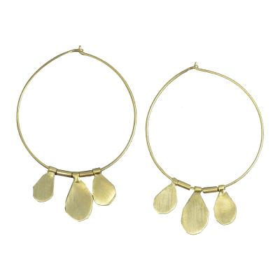 MELANIE WOODS - 3 Drop Hoop Earrings - Gold