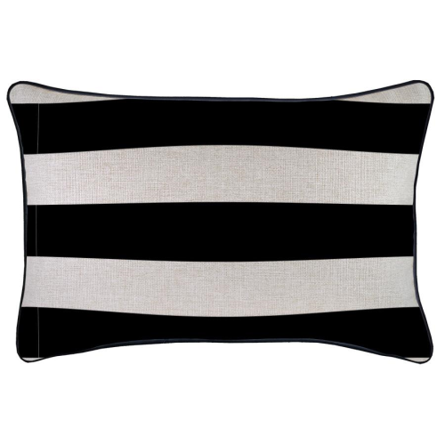 Alfresco Cushion - Deck Stripe Black/Natural with Piping