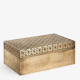 Carved Criss Cross Box - Brass