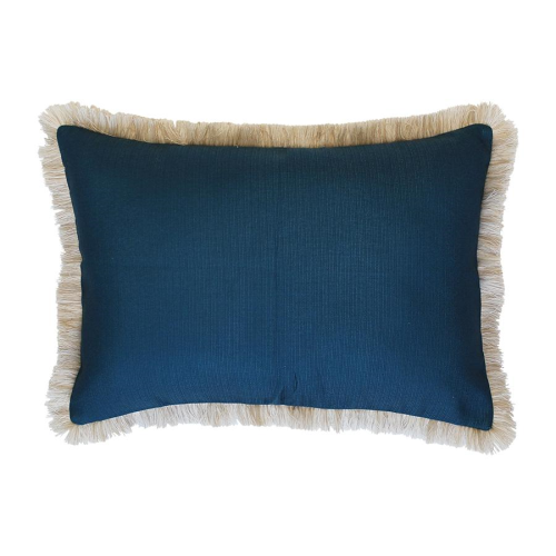 Coastal Fringe Cushion - Teal with Natural Fringe