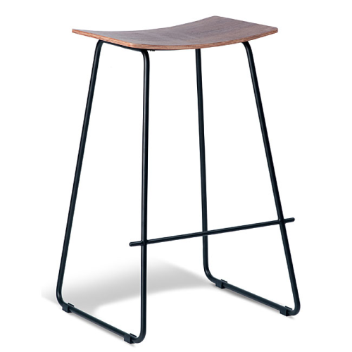 Chicago Barstool - Black Frame - Walnut