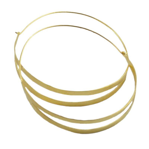 MELANIE WOODS - Split Hoop Earrings - Gold - Large
