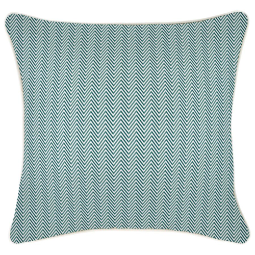 Alfresco Cushion - Teal Herringbone with Piping