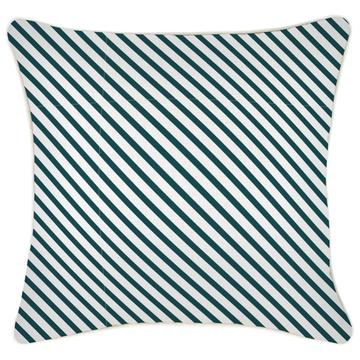 Alfresco Cushion - Side Stripe Teal with Piping
