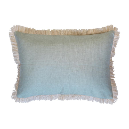 Coastal Fringe Cushion - Seafoam with Natural Fringe 35 x 50cm