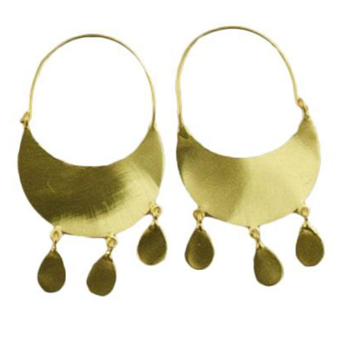 MELANIE WOODS - Crescent Tassel Hoop Earrings