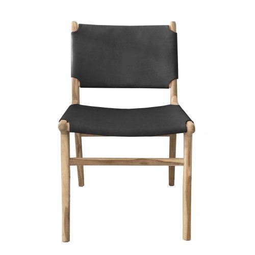 Marley Dining Chair - Teak & Black Leather
