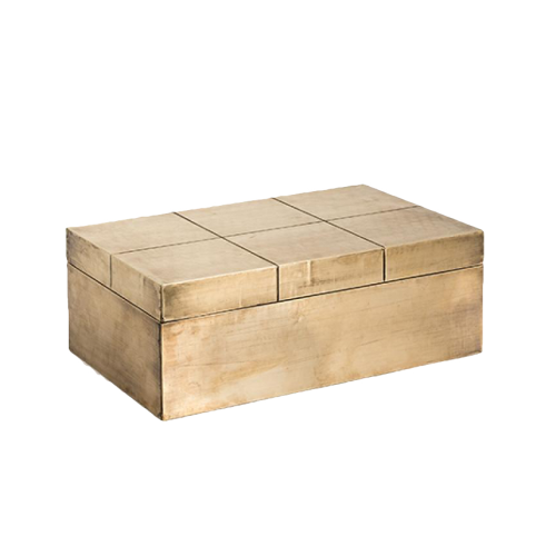 Carved Square Box - Brass