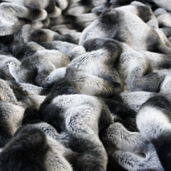 HEIRLOOM Faux Fur Throw - Ruched Chinchilla
