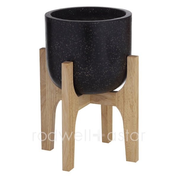 Kane Black Terrazzo Planter on Stand - Black