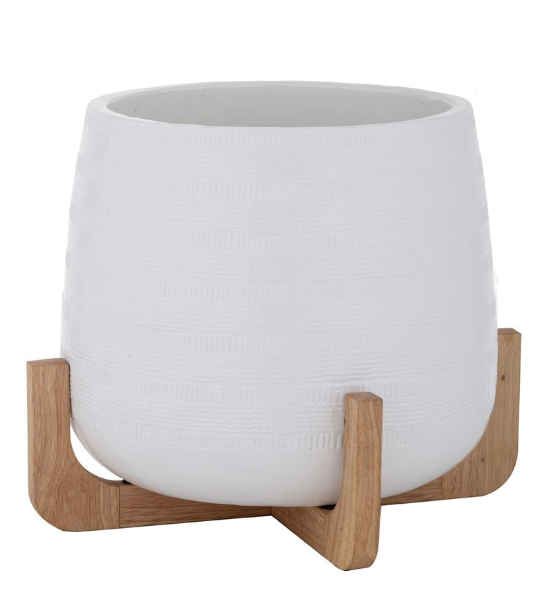 Karsten Large White Planter on Timber Stand