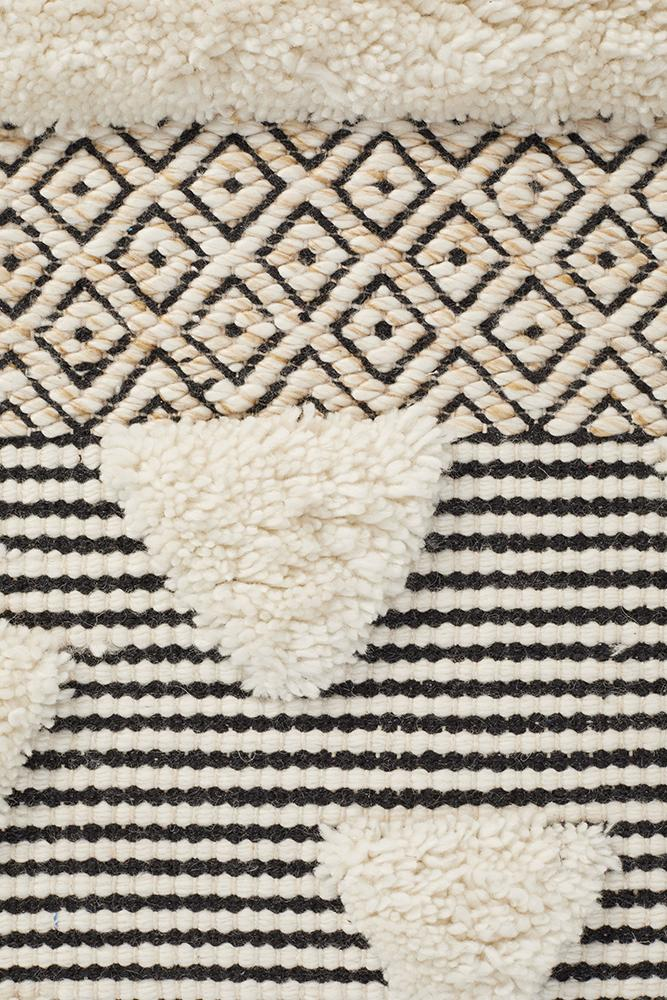 Kente Ivory and Black Hand loomed Rug