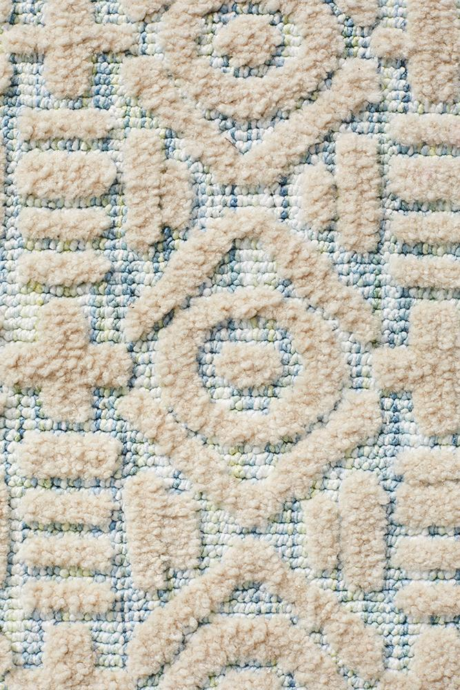 Lahri Blue and Cream Transitional Rug