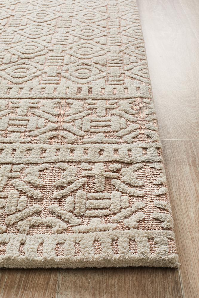 Lahri Peach and Ivory Transitional Rug