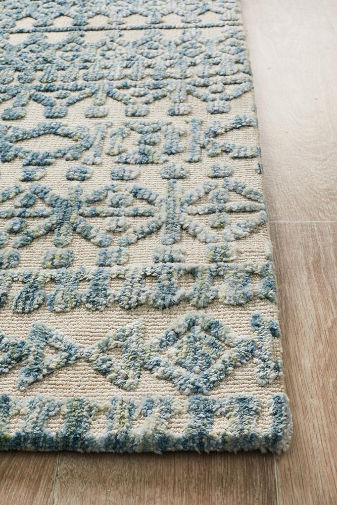 Losar Blue and Cream Transitional Rug