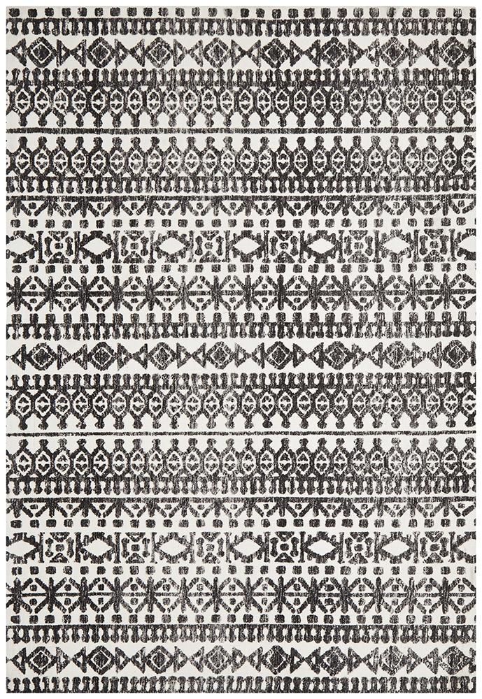 Losar Ivory and Black Transitional Rug