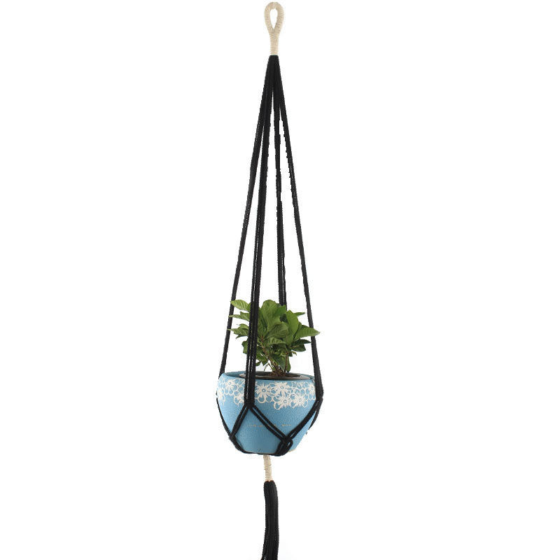 Rodwell and Astor - Macrame Plant Hanger - Two Tone - Black