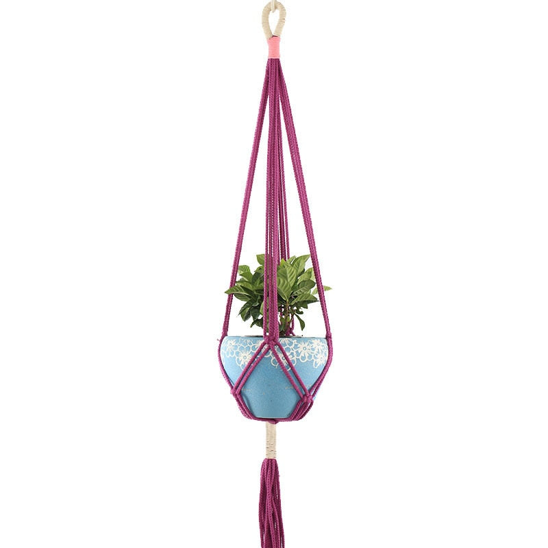 Rodwell and Astor - Macrame Plant Hanger - Two Tone - Magenta
