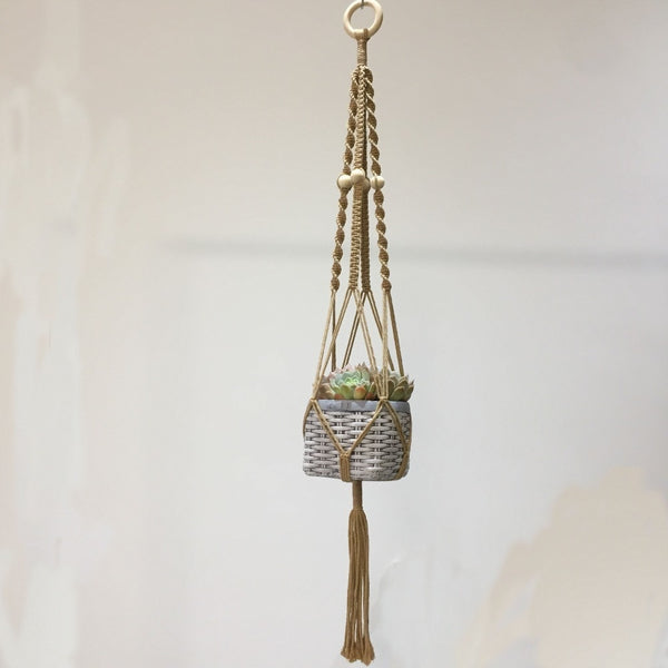 Macrame Plant Hanger - Twist & Bead - Wheat