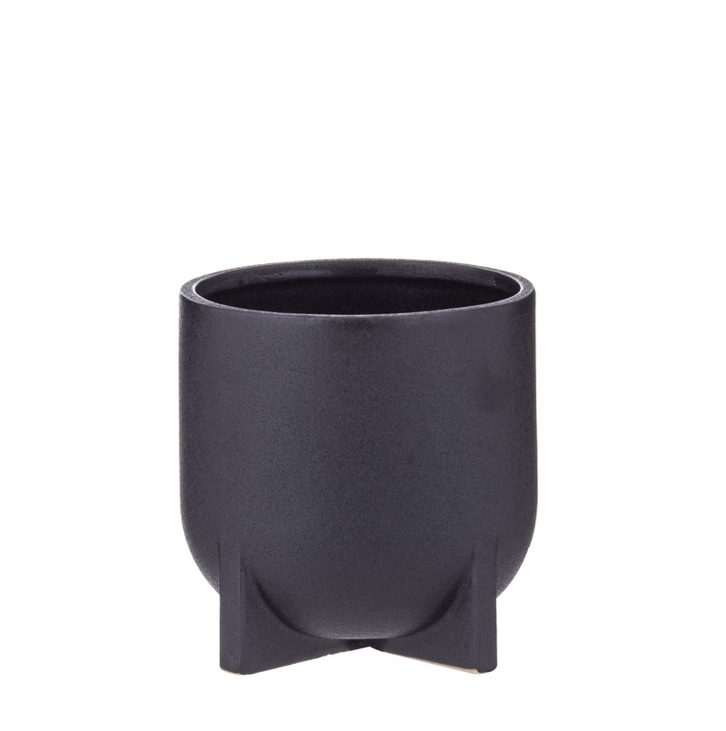 Megan Planter Pot - Black -14cm Medium