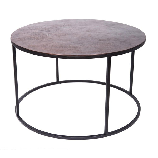 Melrose Round Coffee Table - Aged Copper Top
