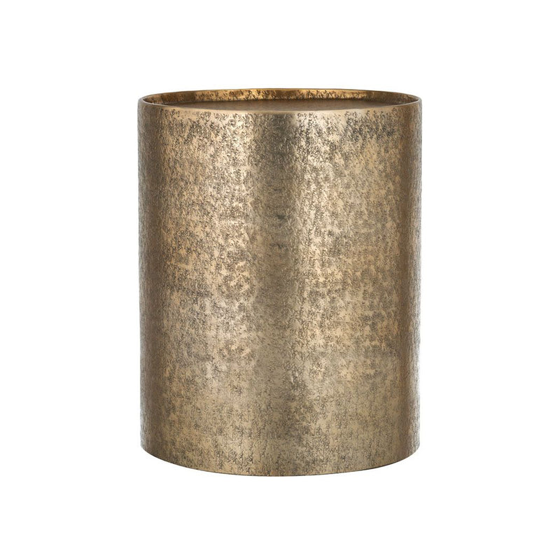 Hammered  Metal Drum Side Table - Gold
