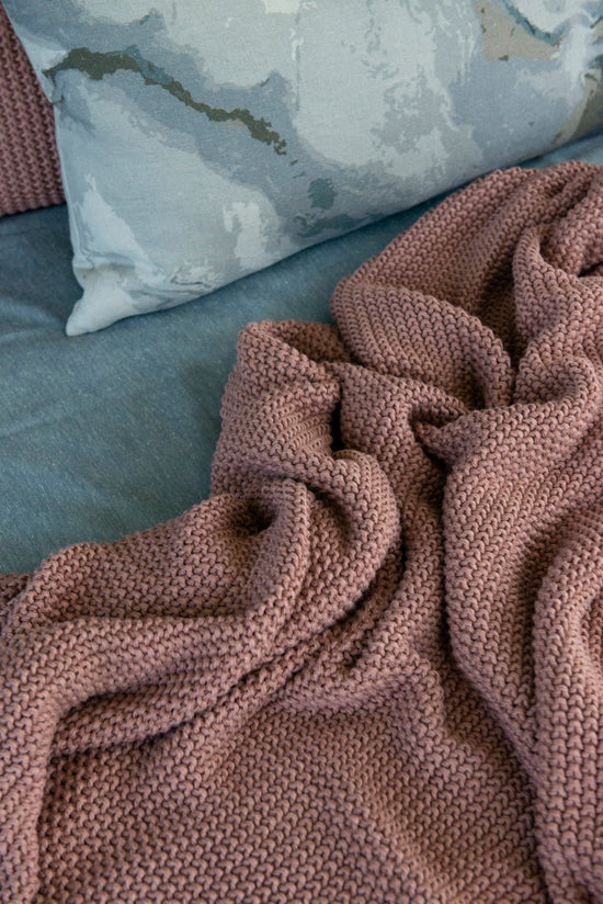 MULBERI Milford Moss Stitch Cotton Throw- Muted Clay
